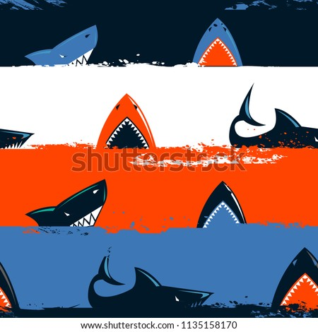 Abstract seamless shark pattern with stripe repeated backdrop. cracked grunge line and big dangerous sea fish. cartoon style wrapping paper for child. underwater motives repetitive ornament.