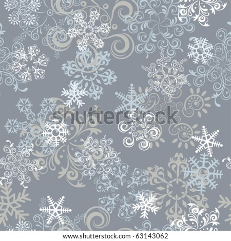 Abstract seamless snowflake pattern. Illustration vector.