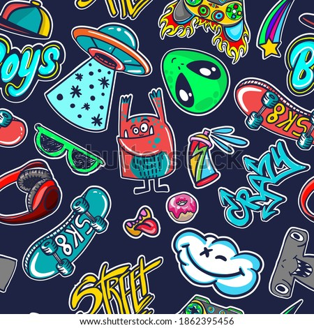 Abstract seamless stickers pattern for boys, teenagers, fashion textile, clothes, wrapping paper. Repeated print with monsters doodle characters, graffiti text,  skate, ufo,