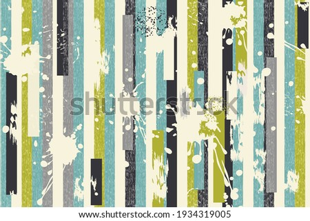 Abstract seamless striped pattern with blots and an effect of attrition  in retro colors. Retro design. Vector shabby geometric carpet.  Background for ceramic tile, wallpaper, linoleum, textile, web  Foto stock ©