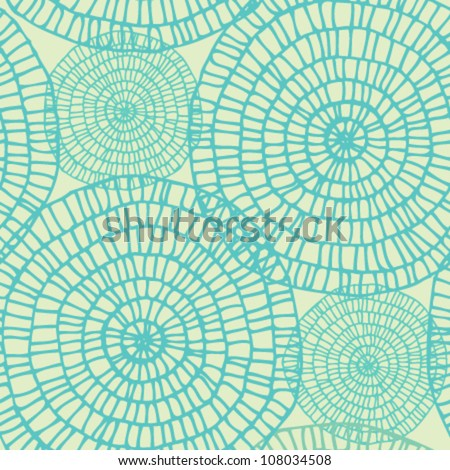 Abstract seamless summer swirl lace pattern. Circle texture on light retro background