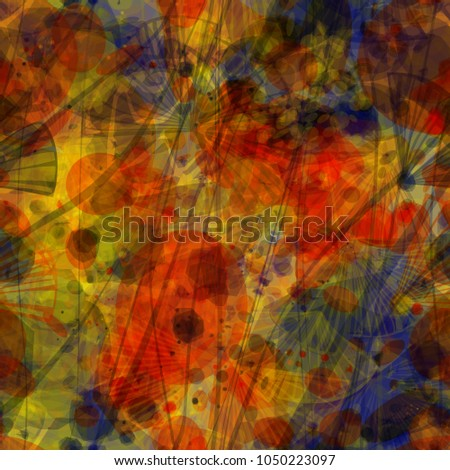 Abstract seamless texture. Red, brown, blue, yellow, orange colors. Stylized floral elements. Vector background for web page, banners backdrop, fabric, home decor, wrapping
