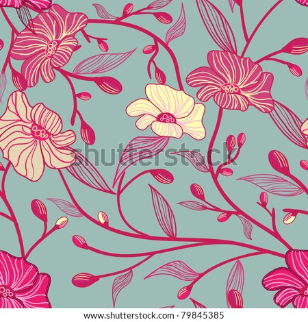 Abstract seamless vector pattern with flowers