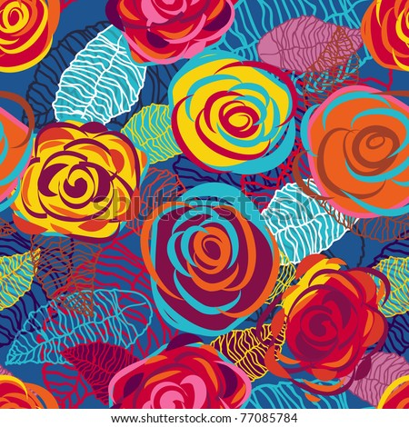Abstract seamless vector texture with bright roses - stock vector