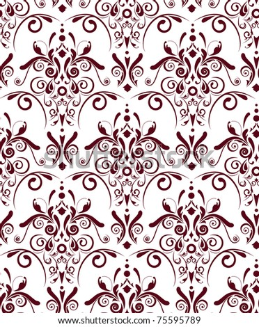 Abstract seamless vector texture with dark red damask pattern