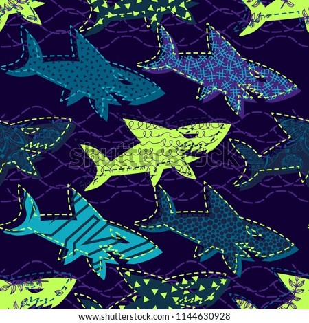 Abstract seamless vector underwater pattern for girls, boys, clothes. Creative background with sharks. Funny wallpaper for textile and fabric. Fashion style. Colorful bright