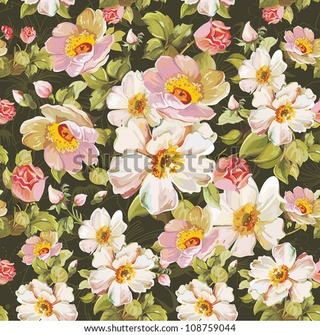 Abstract seamless vintage flower pattern. Romantic Elegance vector illustration.