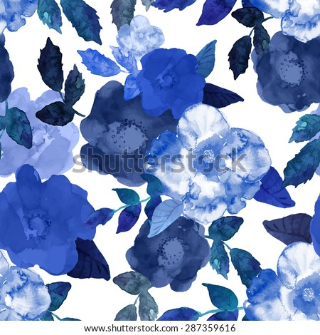 Abstract seamless watercolor hand painted background. Isolated blue flowers and leafs. Vector illustration.