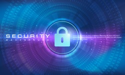 Abstract security technology banner blue purple background concept with line and binary code effects technology, blue background texture, secure digital tech, illustration vector for graphic design