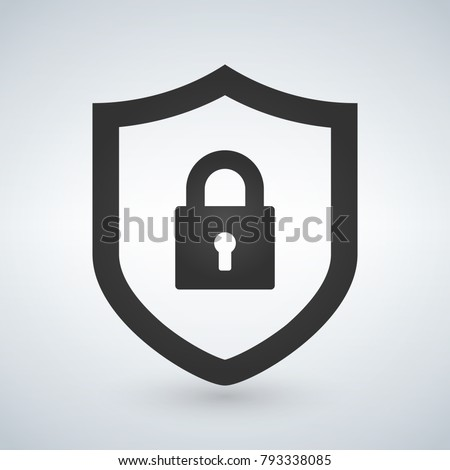 Abstract security vector icon illustration isolated on black background. Shield icon. Lock icon.