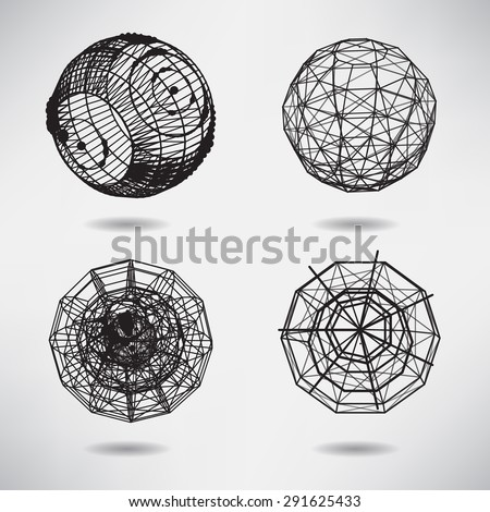 Abstract set background with dots and lines on theme digital technology and internet