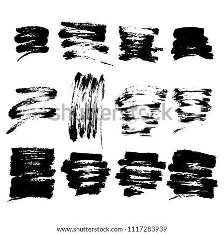 Abstract set of black ink blot. Collections of dry brush strokes stamp isolated on white background #1117283939