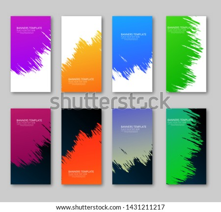 Abstract set of gradient banner,poster ,card and etc with light & dark paint.