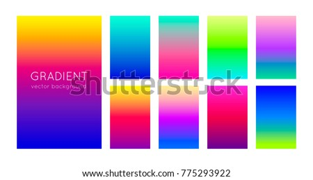 Stock Photo Abstract set of modern bright color gradient backgrounds and texture for mobile applications and smartphone screen. Vivid design element for banner, cover or flyer. EPS 10