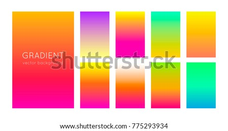 Abstract set of modern bright gradient backgrounds and texture for mobile applications and smartphone screen. Warm color backdrop. Vivid design element for banner, cover or flyer. EPS 10