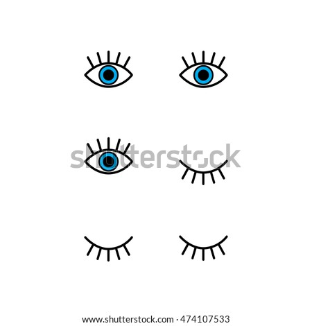 Abstract set with open, winking and closed eyes. Vector illustration.