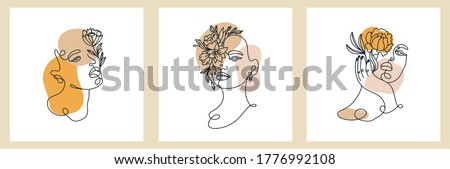 abstract set with woman face