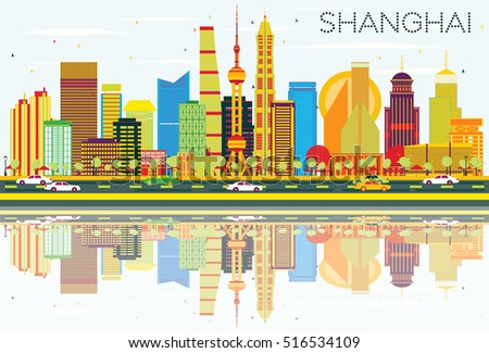 abstract shanghai skyline with