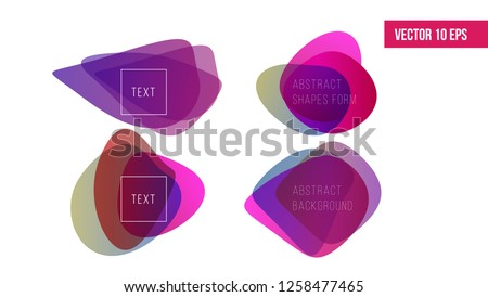 Abstract shapes background. Fluid organic colorful shapes. Abstract shapes form. Paper style. Blue and green, orange, ultraviolet and purple papers. Stock vector.