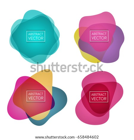 Abstract shapes form. Paper style. Blue and yellow, pink and purple papers. Stock vector.