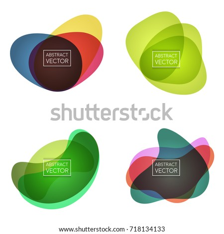Abstract shapes form. Paper style. Blue, yellow, red and green papers. Stock vector