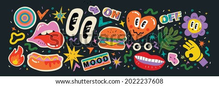 Abstract shapes, funny comic cute characters and doodles. Trendy modern illustration for poster, postcard or background