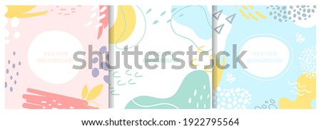 Abstract shapes textures decoration vector illustration set. Contemporary modern trendy decorative design collection with hand drawn elements, minimalist patterns for social media story, invitation