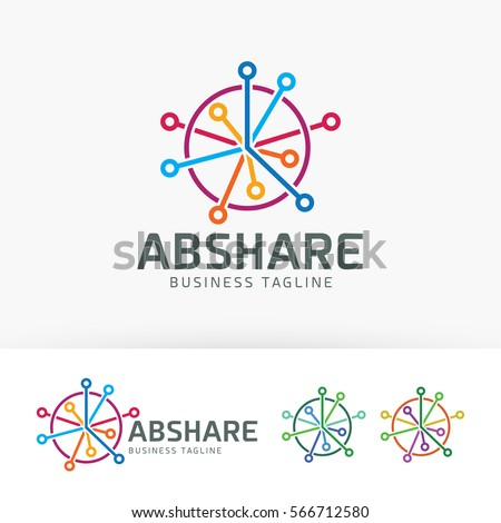 Abstract share, network, sharing, technology, data. Vector logo template