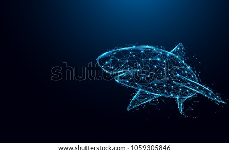 Abstract shark form lines and triangles, point connecting network on blue background. Illustration vector