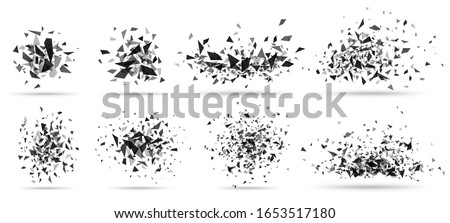 Abstract shatter burst. Geometric texture, dark triangles bursts and broken shattered debris vector set. Flying black shapes explosion, particles spray isolated on white Stockfoto ©