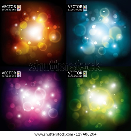 Abstract Shine Light Flare Flying Rays Background CMYK Color Collection Set.