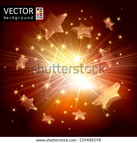 Abstract Shine Light Stars Flying Rays Background CMYK Color.
