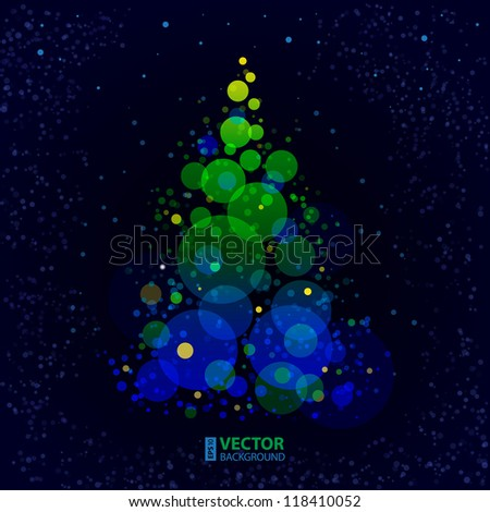 Abstract shining bokeh christmas tree on dark blue background