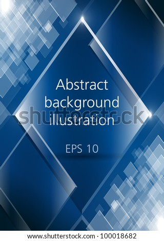Abstract shining rectangles blue vector background