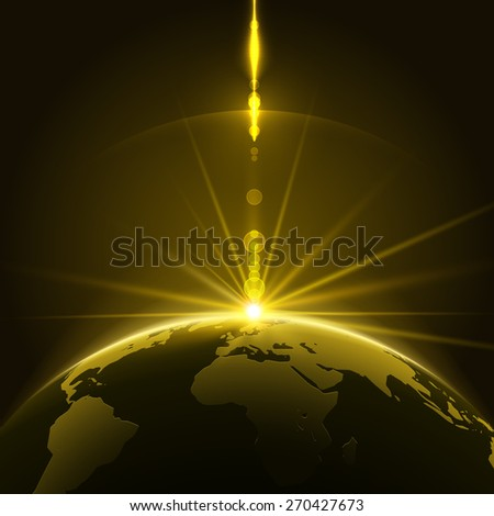 abstract shining sun over the