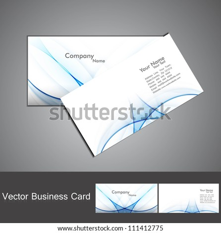 abstract shiny blue colorful wave business card set background illustration