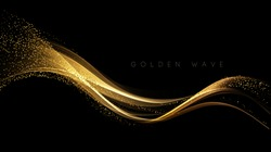Abstract shiny color gold wave design element with glitter effect on dark background.