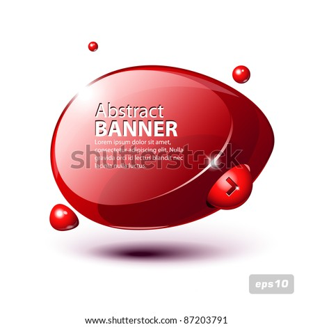 Abstract Shiny Glass Banner Red Horizontal With Button Order Now