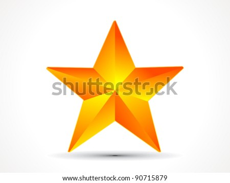 abstract shiny golden 3d star icon vector illustration