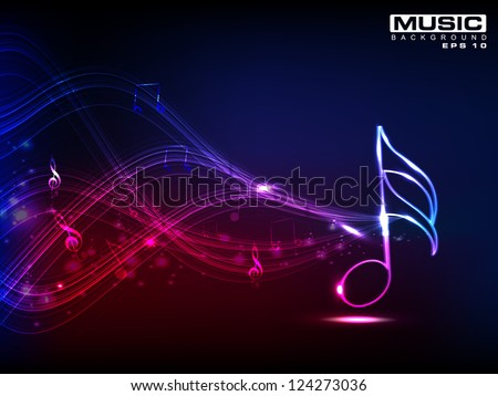 abstract shiny musical note on