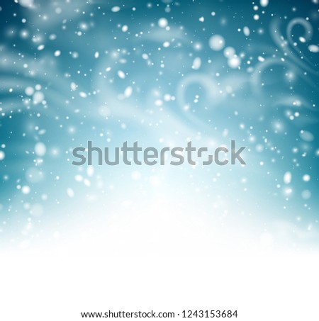 Abstract shiny winter poster with snow, wind and blizzard. Vector background.