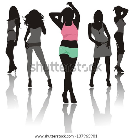 Abstract silhouette fashion girls, composition of dancing Women