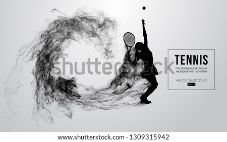 Abstract silhouette of a tennis player woman female isolated on white background from particles dust, smoke. Tennis player hits the ball. Background can be changed to any other. Vector illustration