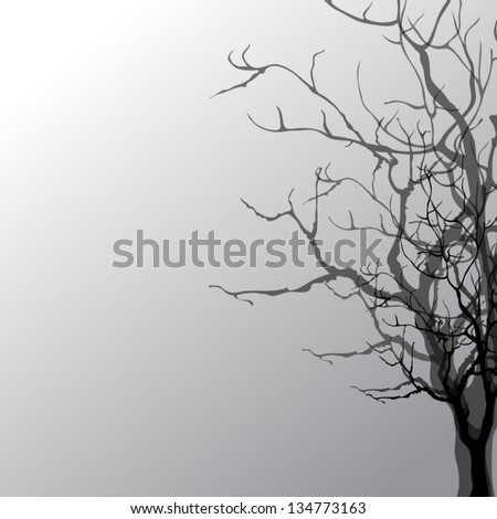 Abstract silhouette of a tree with a shadow