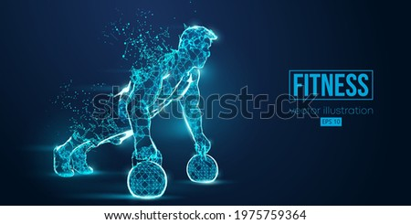 Abstract silhouette of a wireframe bodybuilder. Man on the blue background. Gym. Convenient organization of eps file. Vector illustration. Thanks for watching Сток-фото ©