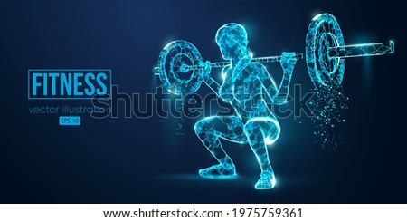 Abstract silhouette of a wireframe bodybuilder. Woman on the blue background. Gym. Convenient organization of eps file. Vector illustration. Thanks for watching Сток-фото ©