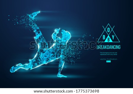 Abstract silhouette of a wireframe breake dancer. Teenager dance hip-hop. Man BBoy from particles on the blue background. Convenient organization of eps file. Vector illustartion. Thanks for watching Photo stock ©