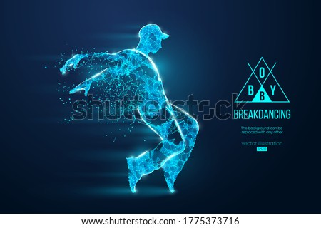 Abstract silhouette of a wireframe breake dancer. Teenager dance hip-hop. Man BBoy from particles on the blue background. Convenient organization of eps file. Vector illustartion. Thanks for watching ストックフォト ©