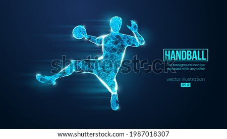 Abstract silhouette of a wireframe handball player from particles on the background. Convenient organization of eps file. Vector illustartion. Thanks for watching Сток-фото ©