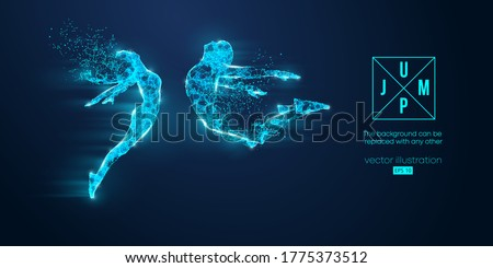 Abstract silhouette of a wireframe jumping man and woman. People in a jump symbolize freedom and love on the blue background. Convenient organization of eps file. Vector. Thanks for watching Photo stock ©